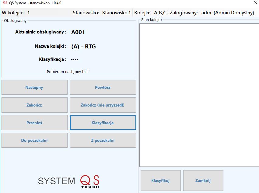 Konsola systemu QS - Client i Client MEDIS (dla szpitali)