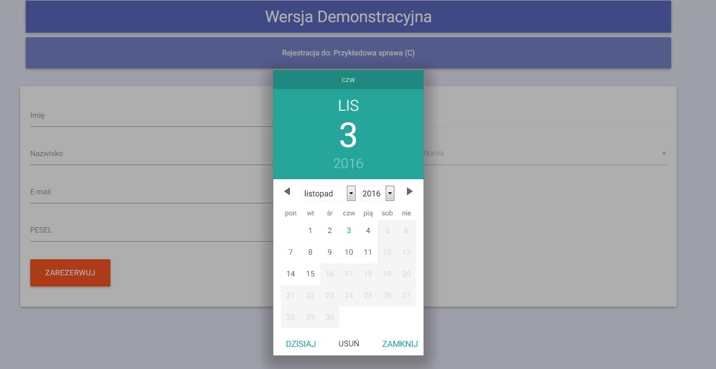 Kalendarz wizyt QS system